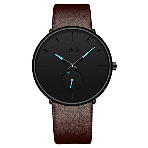 Tamlee Fashion Minimalist Quartz Analog Mens Watches with Brown Leather Strap Waterproof Ultra Thin Wrist Watch in Black Face and Blue Sub Dial