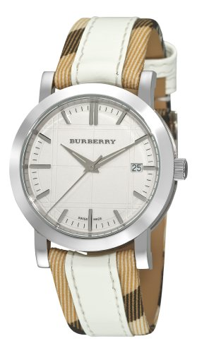 Burberry Women's BU1379 Nova Check Checked with White Leather Strap Watch by BURBERRY