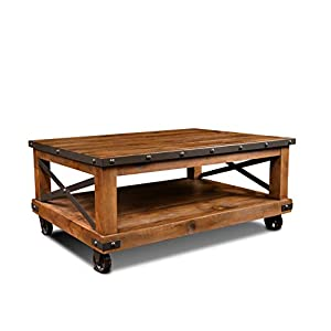 Sunset Trading Rustic City Coffee Table, Casters | Moving Wheels, Natural Oak