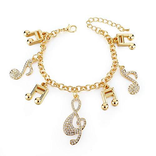 AMBER DAVIDSON Gold Crystal Musical Note Charm Bracelets Bangle for Women Silver Couple Vintage Jewelry Adjustable Bracelet,GD