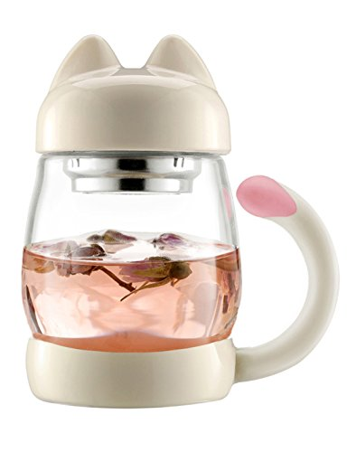 Cute Cat Tea Mugs - BZY1 420 ml / 14 oz Portable Glass Tea Cup With a Lid and Strainer - Heat Resistant Mugs Gift - Cat Glasses