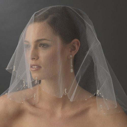 Vika Single Layer Wedding Bridal Scalloped Edge Birdcage Veil with Crystal Drops & Bugle Beads - Ivory