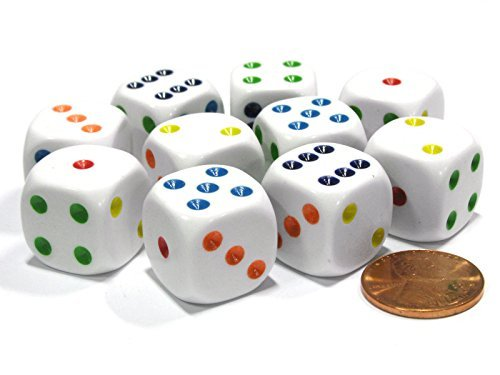 - Set of 10 Six Sided Round Edge Opaque 16mm D6 Dice - White with Multicolor Pip by Koplow Games