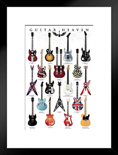 (Pyramid America Guitar Heaven Famous Classic Electric Collection Rock Star Music Matted Framed Poster 20x26 inch)
