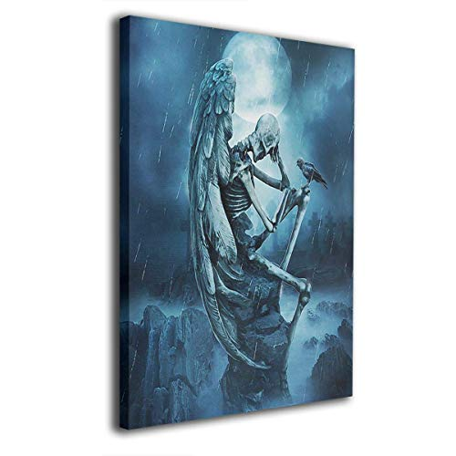 ZHAS Art Wall Art Painting Winged Skeleton Dark Fantasy Crow Prints On Canvas Ready to Hang for Home Modern Decoration Print Decor for Living Room 16