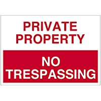 Imprint 360 AS-10006V Vinyl ADHESIVE Workplace PRIVATE PROPERTY No Trespassing Sign- 7 x 10, Red / White, PROUDLY Made in the USA, Great Resistance to Water and Most Chemicals