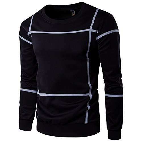 CUCUHAM Fashion Striped Long Sleeve Men Pullover Coat O Neck Sweater Outwear(Black ,Large)