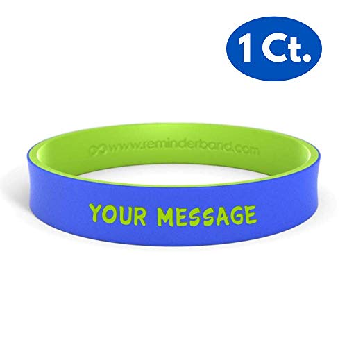 (Reminderband - Custom Dual Layer 100% Silicone Wristband - Personalized Silicone Rubber Bracelet - Customized, Events, Gifts, Support, Causes, Fundraisers, Awareness - Men, Women,)