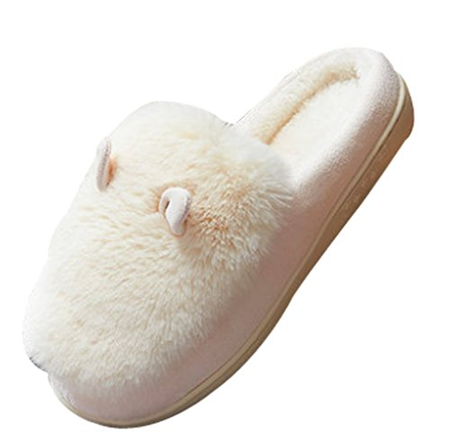 Cattior Womens Cute Bunny Furry Slippers Ladies Slippers Cream Color hGtxwLGQ5P