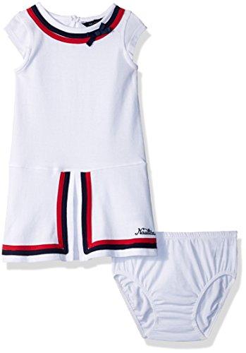 Nautica Baby Girls Short Sleeve Fashion Dress, White, 12M