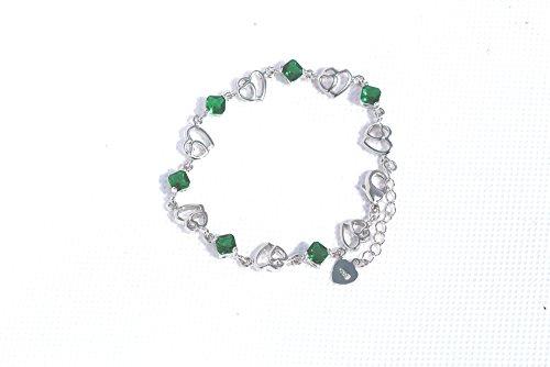 findout améthyste rose bleu blanc coeur en argent pendentif cristal rouge + boucle d'oreille + bracelet ensemble, pour les femmes les filles. (f497)
