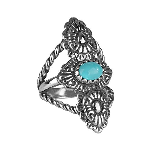 American West Sterling Silver Turquoise Concha Rope Ring- Size 10 - Classics Collection