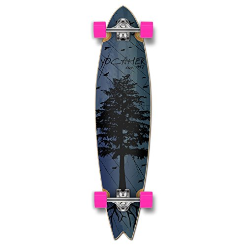 Yocaher in The Pines Blue Longboard Complete Skateboard - Available in All Shapes (Fishtail)