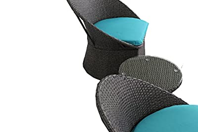 Outdoor Rattan Wicker Bistro Set Garden Patio Furniture Conversation Chair & Table Cushioned Sets(Turquoise Cushion,3 Piece)