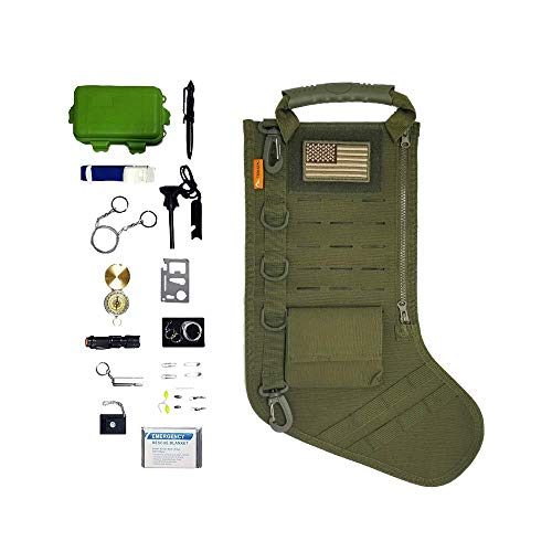 gearrific Tactical Christmas Stocking Pre-Filled with Gifts for Him, Soldiers, Military or Survivalists (28-Piece Set (Green))
