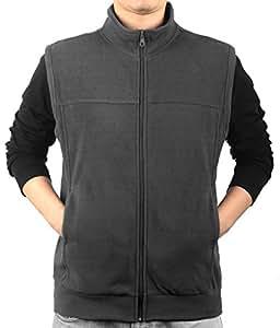 iLoveSIA Men's Full-Front-Zip Fleece Vest Dark Grey Size XL