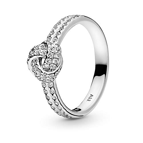 Pandora Jewelry - ShimmeRing for Women Knot Ring for Women in Sterling Silver with Clear Cubic Zirconia, Size 6 US / 52 EURO