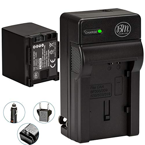 BM BP-820 Battery and Charger for Canon VIXIA HF G60, HF G50, XA40, XA45, XA50, XA55, GX10, HF G20, HF G21, HFG30, HFG40, HFM300, HFM301, HFM40 HFM41 HFM400 HFS200 XA10 XA11 XA15 XA20 XA25 XF400 XF405