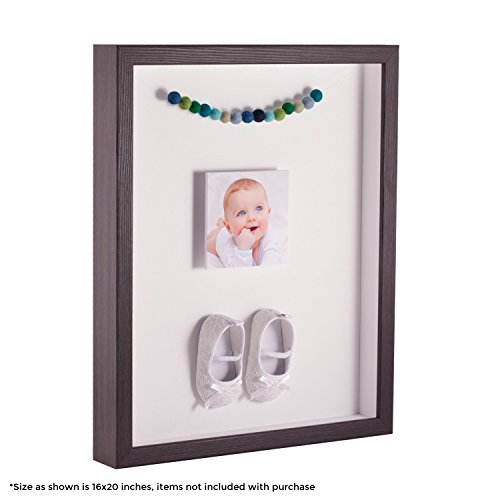 ArtToFrames 9 x 12 Inch Shadow Box Picture Frame, with a Melinga Oak Gray 1'' Shadowbox Frame and Porcelain Mat