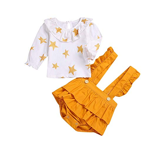 HESHENG Baby Girl Dress Newborn Cartoon Star Ruffle Romper Long Sleeve Strap Skirt Infant Jumpsuit Clothes Outfits Set (110(2-3Y), Yellow)