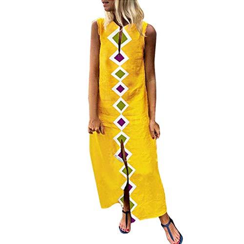 - PENGYGY Woman Printed Sleeveless Skirt Casual V-Neck Maxi Dress Ladies Split Hem Baggy Long Dress
