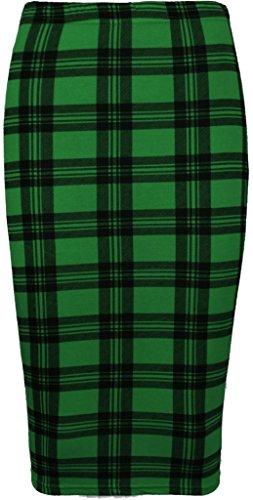 - RM New Women's Printed Pencil Skirt, Midi Skirt Normal and Plus Size (2XL, Green Tartan)