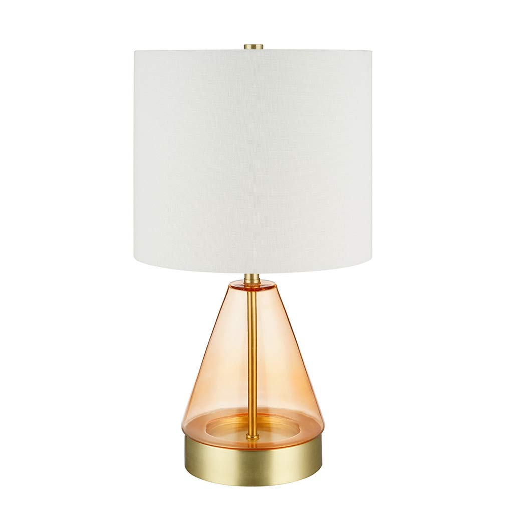 """Rivet Smokey Glass and Brass Table Lamp, Modern, with Bulb, 16.63""""H, Pink"""