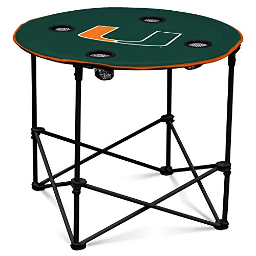 Miami Hurricanes Collapsible Round Table with 4 Cup Holders and Carry - Pool Round Table
