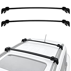 ALAVENTE Roof Rack Cross Bars System For JEEP Compass 2017/ ALL-NEW-5-dr SUV with Side Rails (Pair, Black)