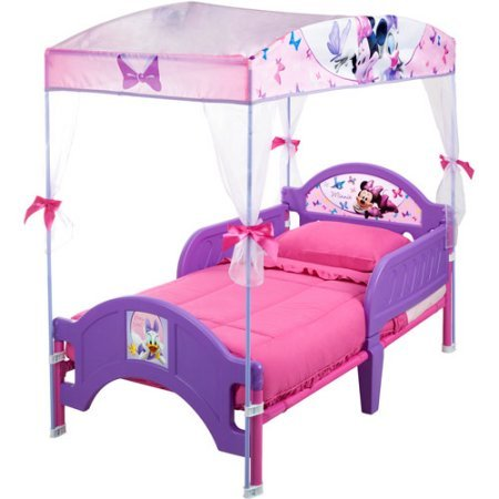 Disney Minnie Mouse Kids Lavender Beautiful Cozy Canopy Toddler Bed (Toddler Bed Replacement Parts)