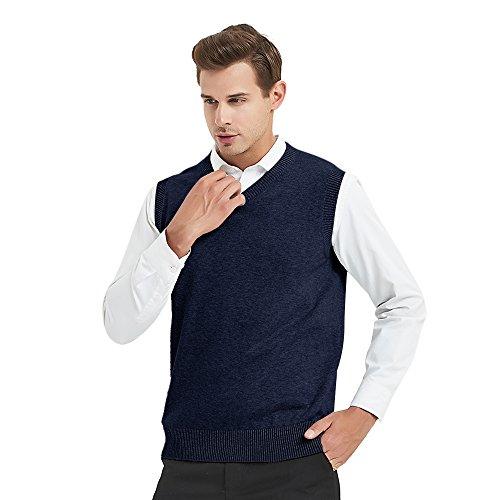 TOPTIE Mens Business Solid Color Plain Sweater Vest, Cotton Fit Casual Pullover-Navy-XL