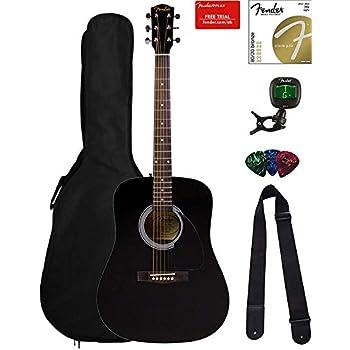Fender FA-115 Dreadnought Acoustic Guitar - Black Bundle with Gig Bag, Tuner,