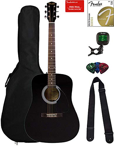 (Fender FA-115 Dreadnought Acoustic Guitar - Black Bundle with Gig Bag, Tuner, Strings, Strap, and Picks)