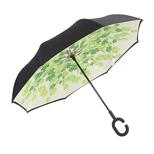 NEWBRELLAs Inverted Umbrellas Self Stand With C Shaped Handle Hands Free Reverse Umbrella (Green Tree)