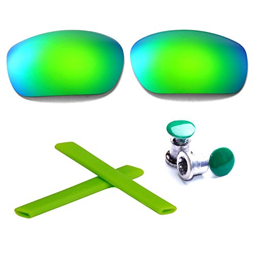 Walleva Polarized Lenses + Rubber + Bolt For Oakley Jawbone - Multiple Options Available (Emerald Lenses + Green Rubber + Green - Green Oakley Jawbone