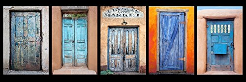 12 x 36 inch panoramic photograph of a group of colorful blue Southwest Doors. Grouping of five antique rustic painted doorways with unique character.
