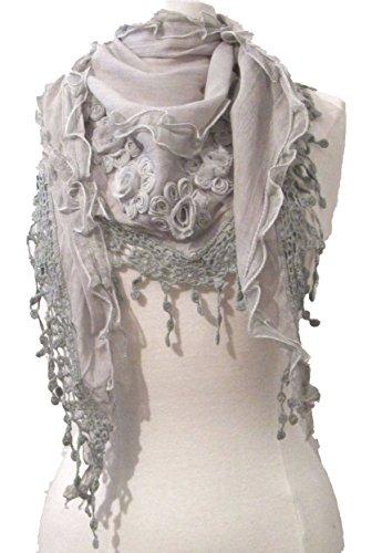 Grau Triangle Muster mit floralem Grau Schal gehäkelt Spitze ...