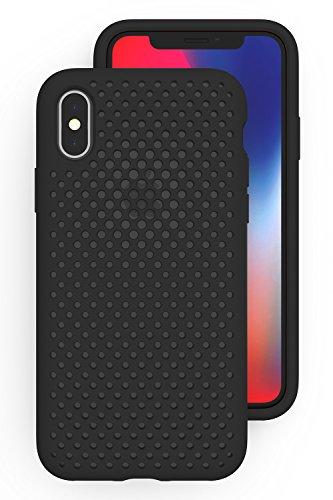 知的圧縮狂乱AndMesh iPhone XS/X ケース メッシュケース Qi 充電 対応 耐衝撃   黒 ブラック AMMSX001-BLK