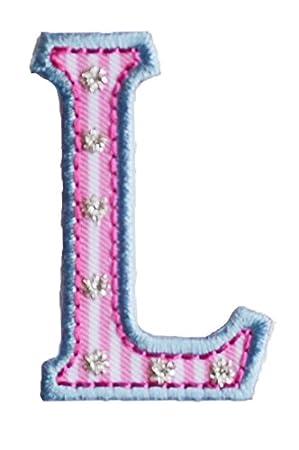 E maiuscolo 5cm rosa azul Coser Chico Bricolaje Bordado Bebé para ...