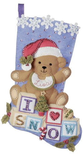 Bucilla 18-Inch Christmas Stocking Felt Appliqué Kit, 85432 Baby (Bucilla Baby Bear)
