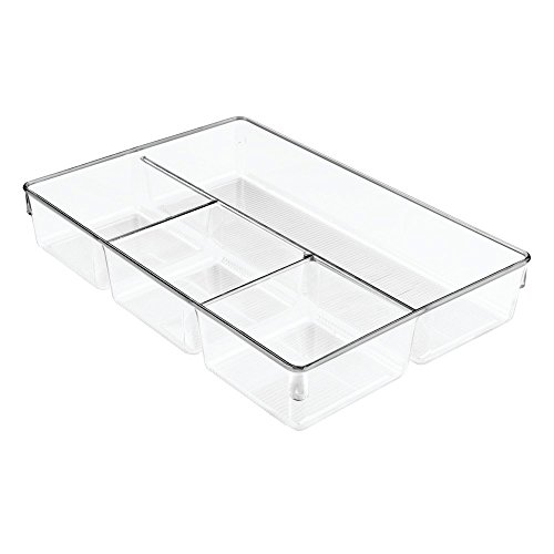 InterDesign Linus Dresser and Vanity Drawer Organizer, 13-inch by 9-inch by 2.25-inch, Clear