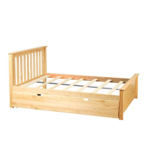 - Max & Lily Solid Wood Full-Size Bed with Trundle Bed, Natural