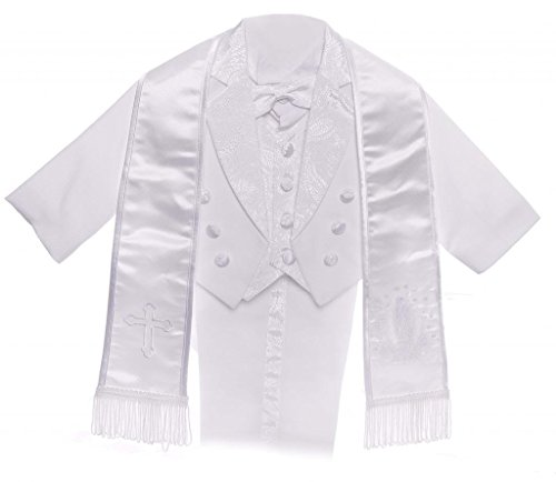 Boy White Tail Paisley Design Christening Virgin Embroidered Tuxedo size 6M