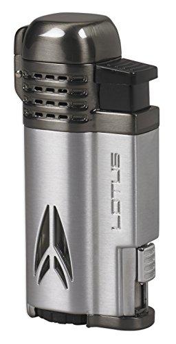 (Lotus Defiant Quad Pinpoint Lighter w/ Cigar Punch - Chrome Satin & Dark Gun Satin)