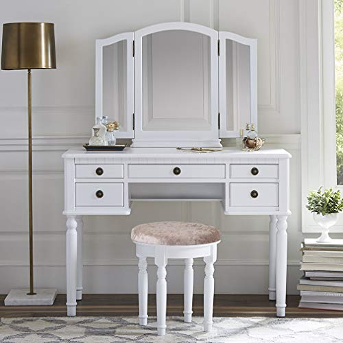 FDW Makeup Vanity Table Set 3 Mirror and 5 Organization Drawers Vanity Beauty Set with Cushioned Stool,White