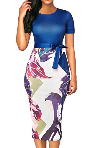 Silindashop Office Work Casual Pencil Dress for Women with Short Sleeve Summer Bodycon Midi ()