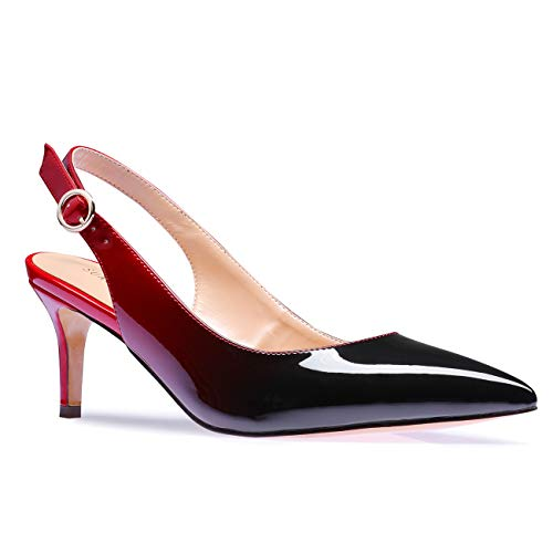 Slingback Pointed - SUNETEDANCE Women's Slingback Pumps Pointed Toe Kitten Heels Sandals Slip On Stiletto Mid Heels Shoes, Patent Leather Red Multicolor, US11 B(M) US