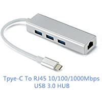 Type c 3-Port USB-C to RJ45 USB 3.0 Aluminum Portable Data Hub, with 10/100/1000 Mbps, or 1 Gigabit Network Adapter with Ethernet Port, for MacBook Pro 2016/2017,ChromeBook, XPS and More