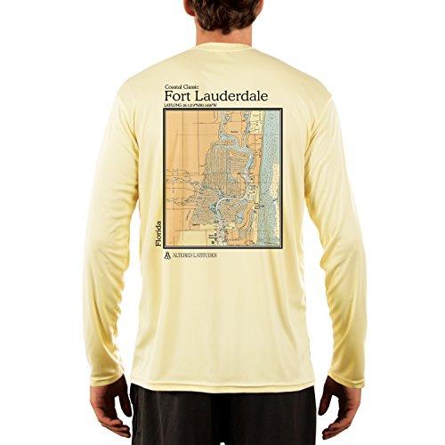 Coastal Classics Fort Lauderdale Chart Men's UPF 50+ Long Sleeve T-shirt Large Pale - The Fort Lauderdale Fit Shop