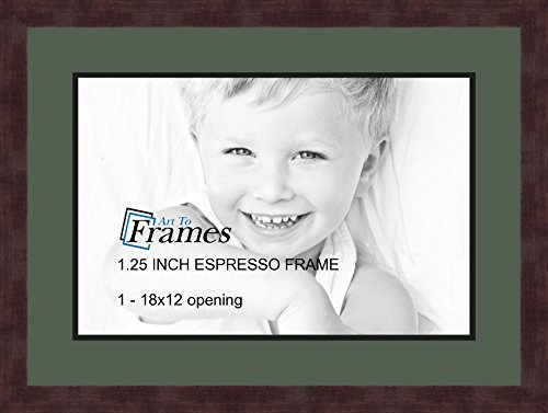 Art to Frames Double-Multimat-729-868/89-FRBW26061 Collage Frame Photo Mat Double Mat with 1-12x18 Openings and Espresso Frame